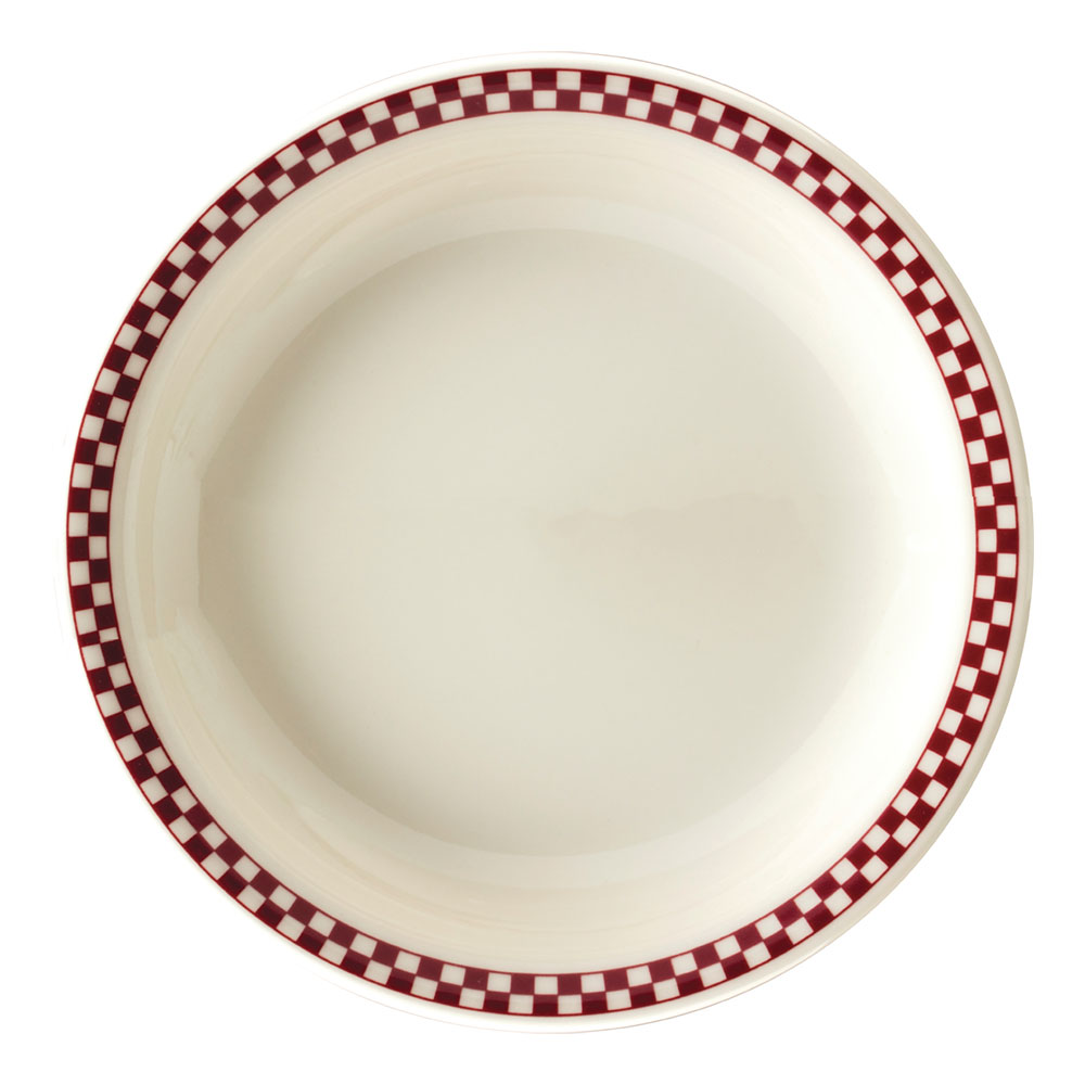 """Homer Laughlin 2245413 9"""" Round Plate - China, Ivory w/ Red Checkers"""