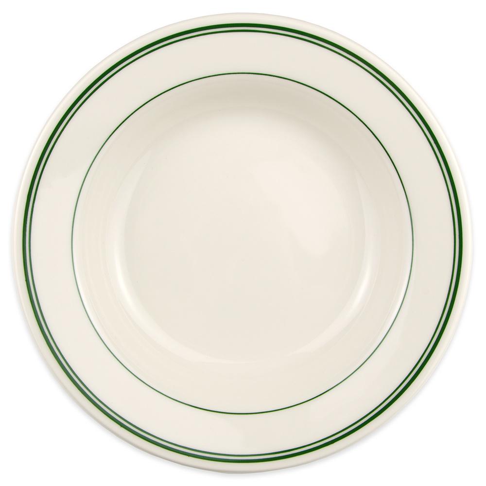 Homer Laughlin 2531 12.75-oz Rim Soup Bowl - China, Ivory w/ Green Band