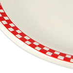 "Homer Laughlin 2625413 12.5"" Oval Platter - China, Ivory w/ Red Checkers"