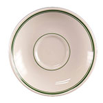 "Homer Laughlin 2821 6"" Boston Saucer - China, Ivory w/ Green Band"
