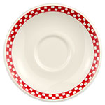 """Homer Laughlin 2825413 6"""" Boston Saucer - China, Ivory w/ Red Checkers"""