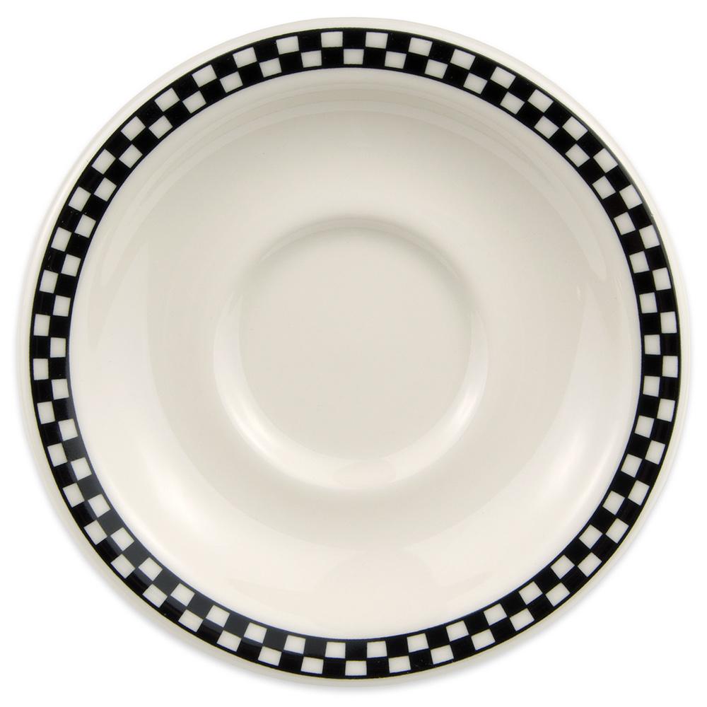 "Homer Laughlin 2831636 5.5"" Texas Saucer - China, Ivory w/ Black Checkers"