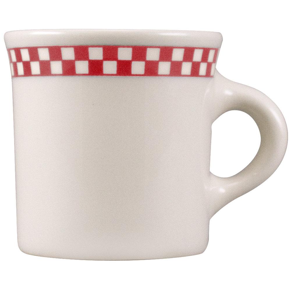 Homer Laughlin 3005413 8.75-oz Mug - China, Ivory w/ Red Checkers