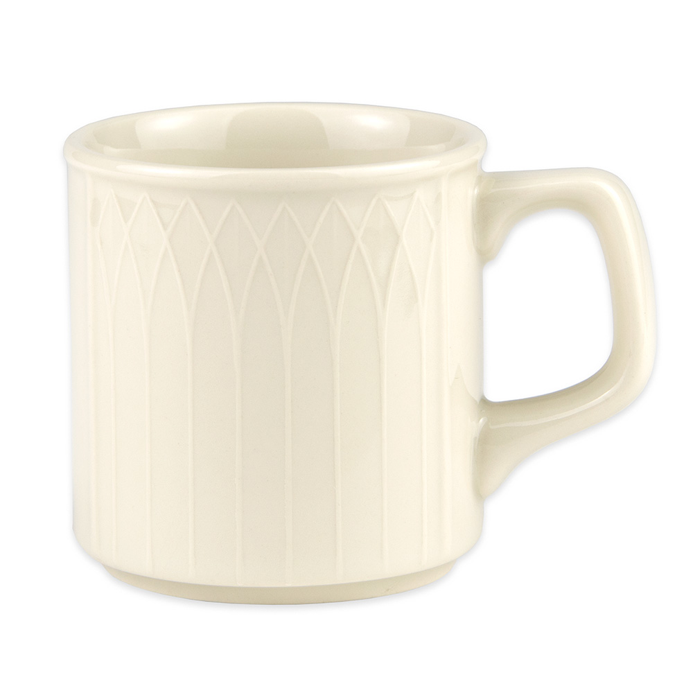 Homer Laughlin 3327000 8-oz Gothic Blanc Mug - China, Ivory