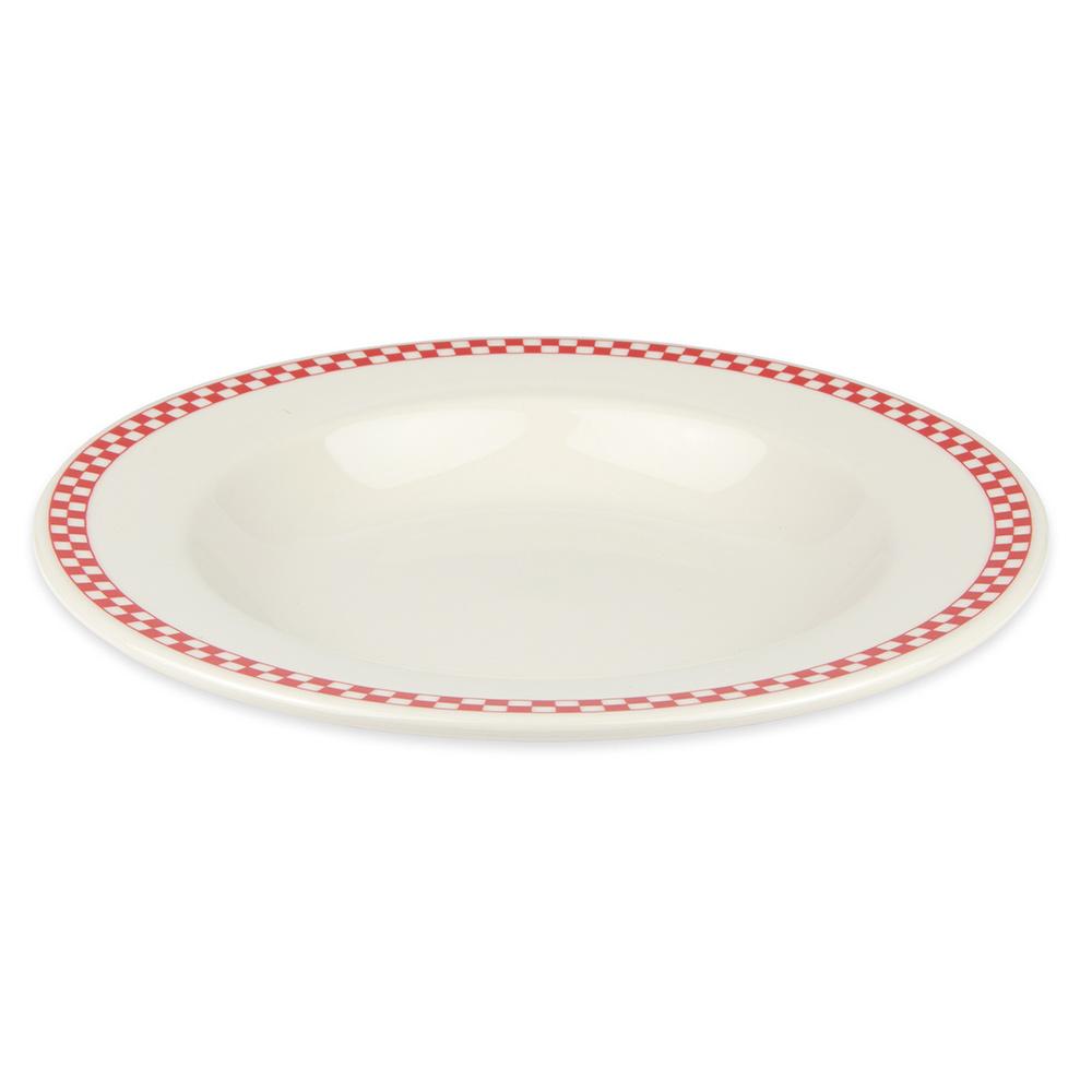 Homer Laughlin 3805413 20-oz Pasta Bowl - China, Ivory w/ Red Checkers