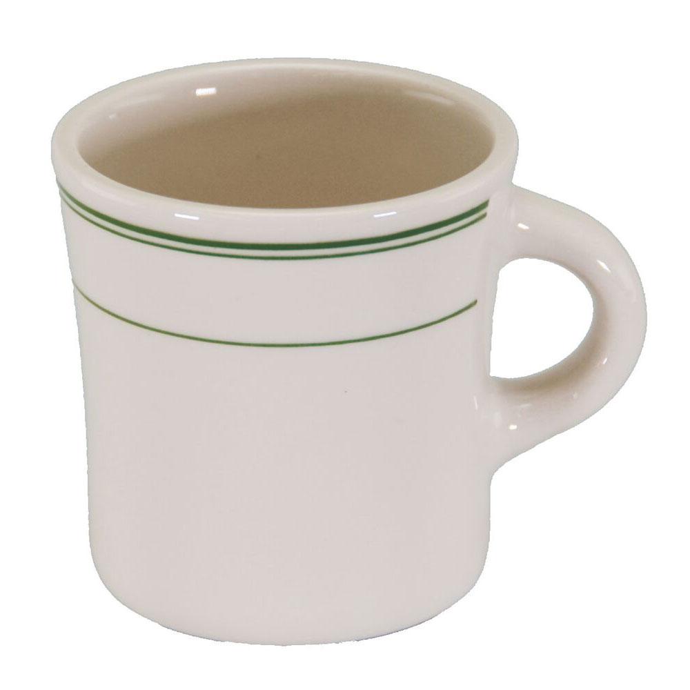 Homer Laughlin 9821 13-oz Jumbo Mug - China, Ivory w/ Green Band