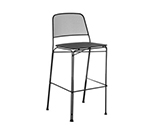 emu 058 Stacking Barstool w/ Extended Steel Mesh Back & Seat, Foot Rest, Black