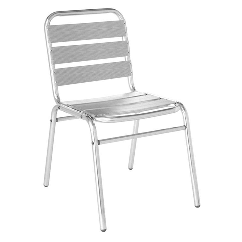 emu 1000 Flora Stacking Side Chair, Slat Seat & Back, Aluminum Frame