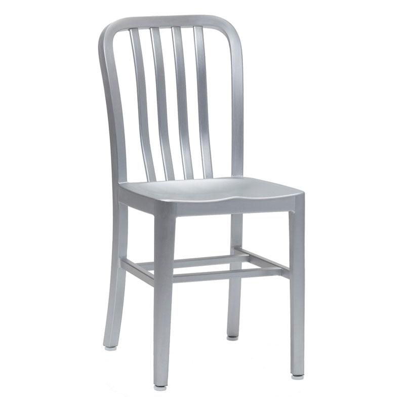 emu 1004 Anna Side Chair, Slat Back, Saddle Seat, Brushed Aluminum