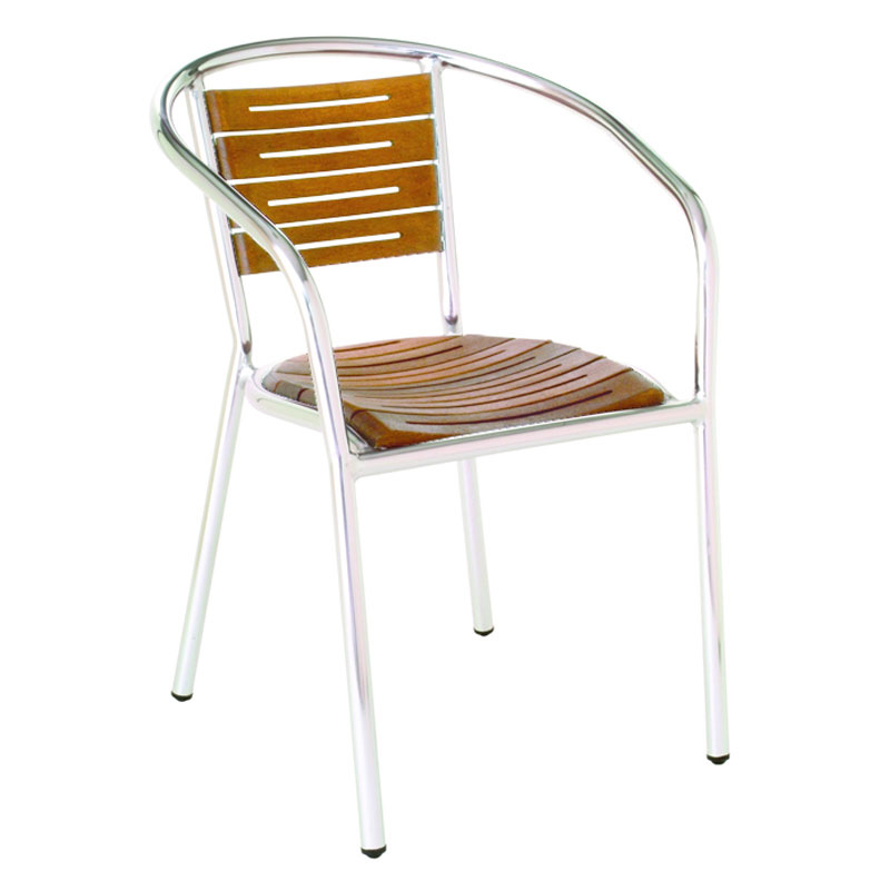 emu 1103 Sofia Stacking Armchair, Teak Slated Seat & Back, Aluminum