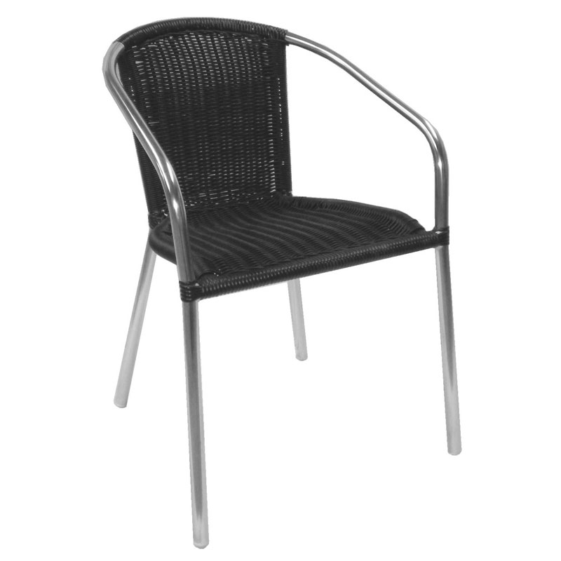 emu 1109 Laura Stacking Armchair, Wicker, Polished Aluminum, Black