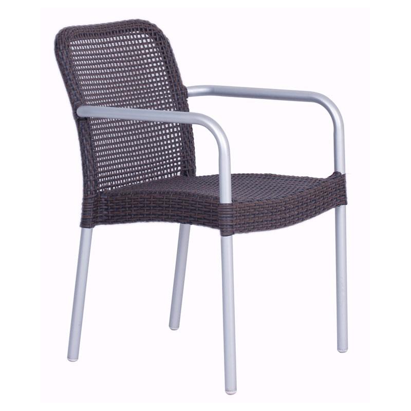 emu 1111 Rita Stacking Armchair, Wicker, Matte Aluminum, Espresso