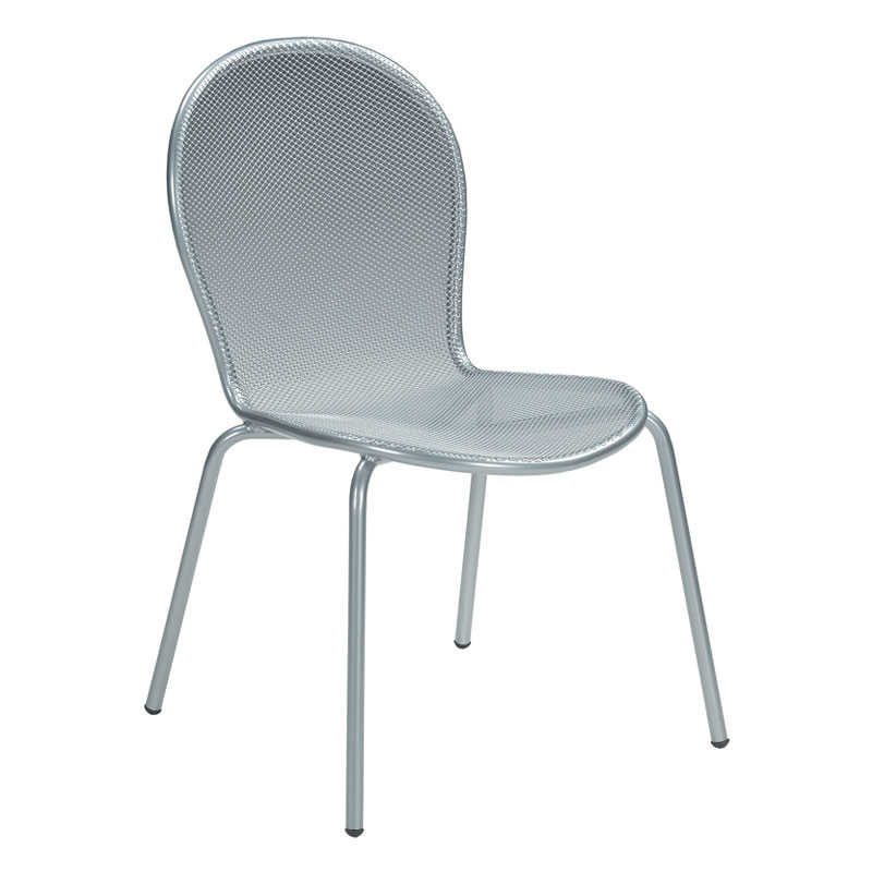 emu 111 ALU Ronda Side Chair, Mesh Seat & Back, Tubular Frame, Aluminum
