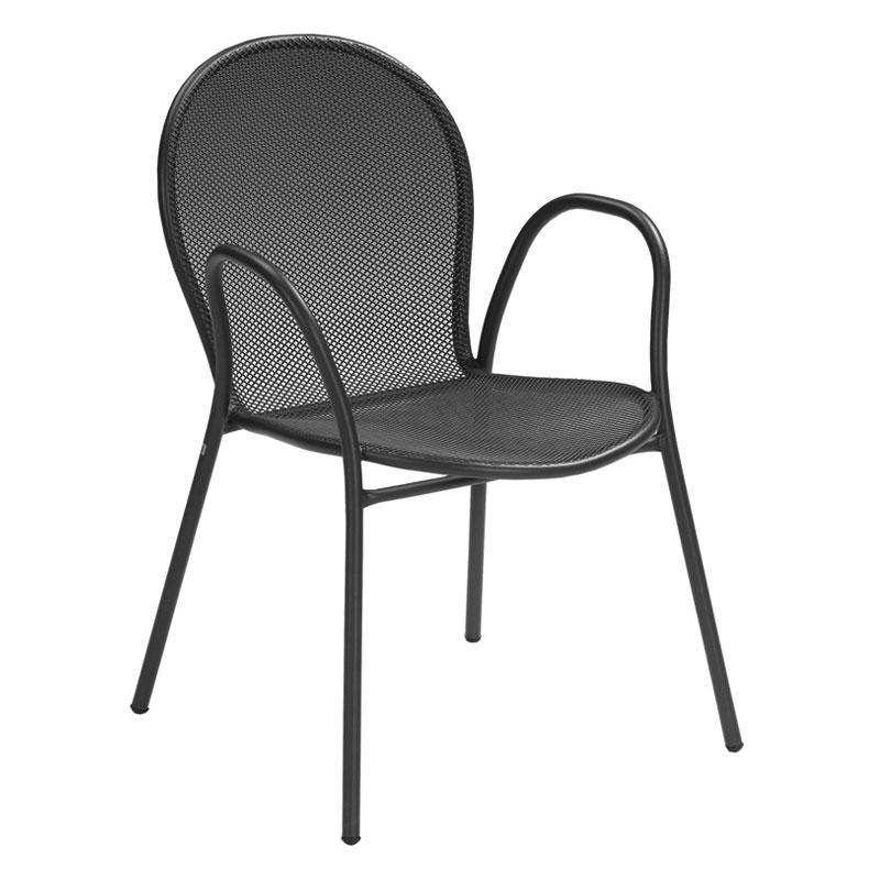 emu 116 BLACK Ronda Stacking Armchair, Mesh Seat & Back, Black