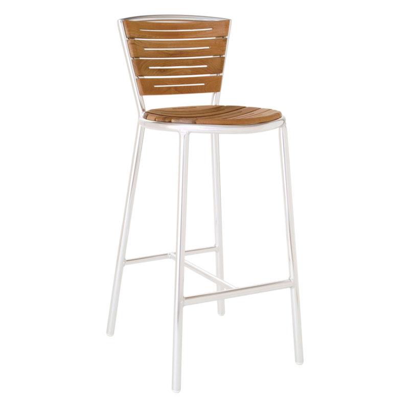 emu 1201 Karen Barstool, Foot Rest, Teak Seat & Back, Aluminum Frame
