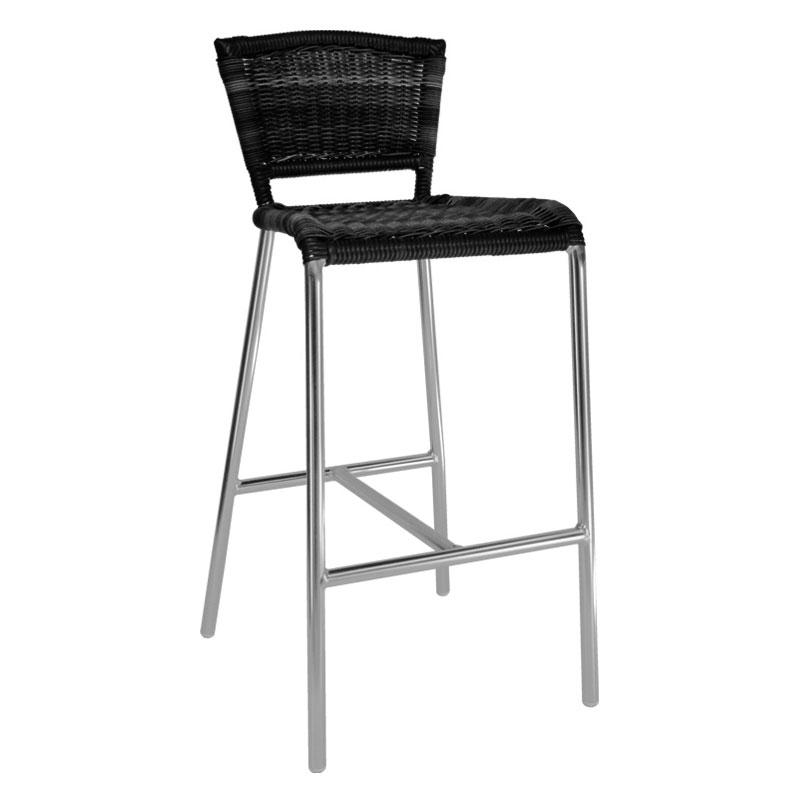 emu 1209 Laura Barstool, Foot Rest, Wicker & Polished Aluminum, Black