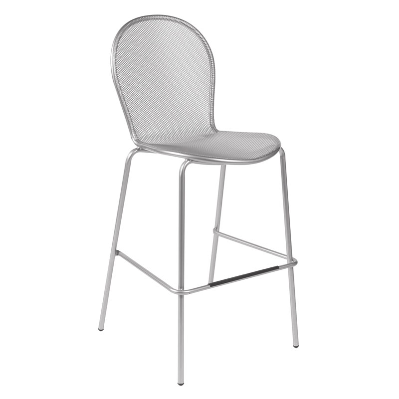 emu 128 Ronda Stacking Bar Stool - Indoor/Outdoor, Steel Frame, Aluminum