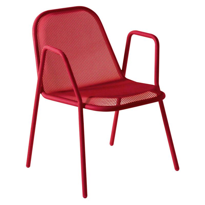 emu 134 Golf Stacking Armchair - Indoor/Outdoor, Steel Frame, Red