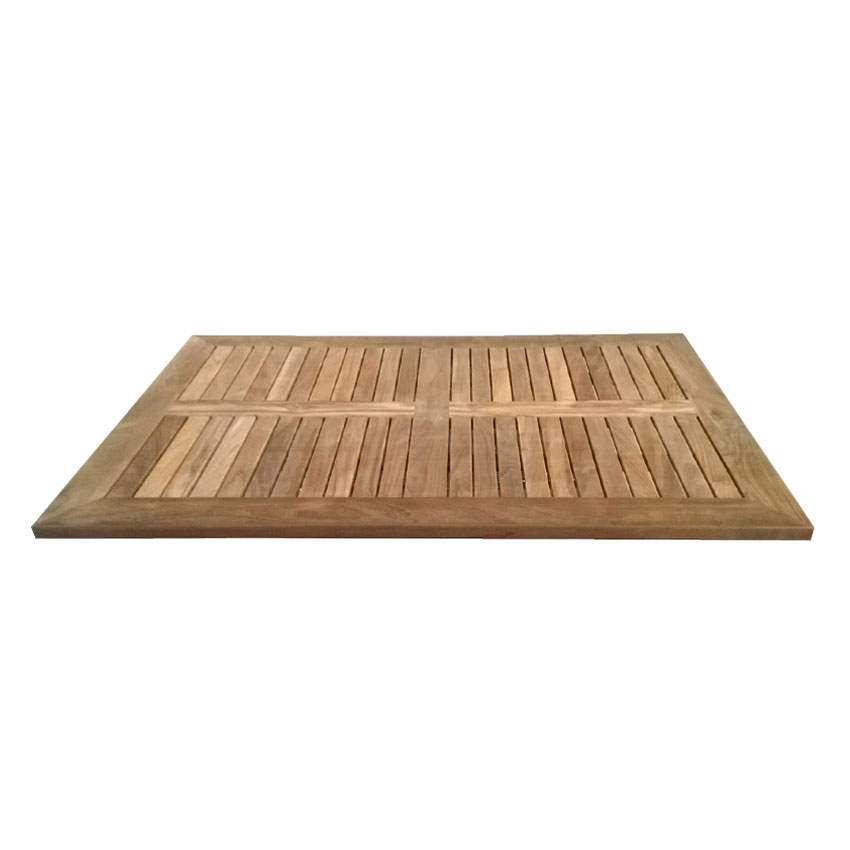 "emu 1455 48x32"" Rectangular Tom Table Top w/ Slats & Natural Teak Wood"