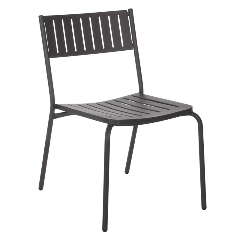 emu 146 Bridge Stacking Side Chair - Indoor/Outdoor, Steel Frame, Black