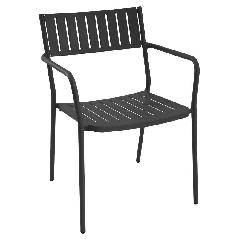 emu 147 Bridge Stacking Armchair - Indoor/Outdoor, Steel Frame, Black