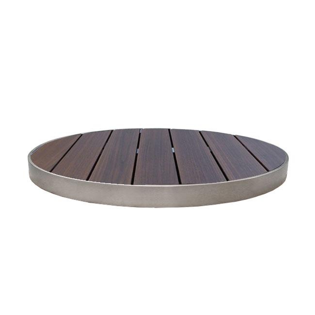 "emu 1481 30"" Sid Round Outdoor Table Top - Wood-Look, Wenge/Aluminum Edge"