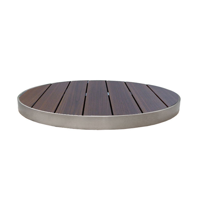 "emu 1482 35"" Sid Round Outdoor Table Top - Wood-Look, Wenge/Aluminum Edge"