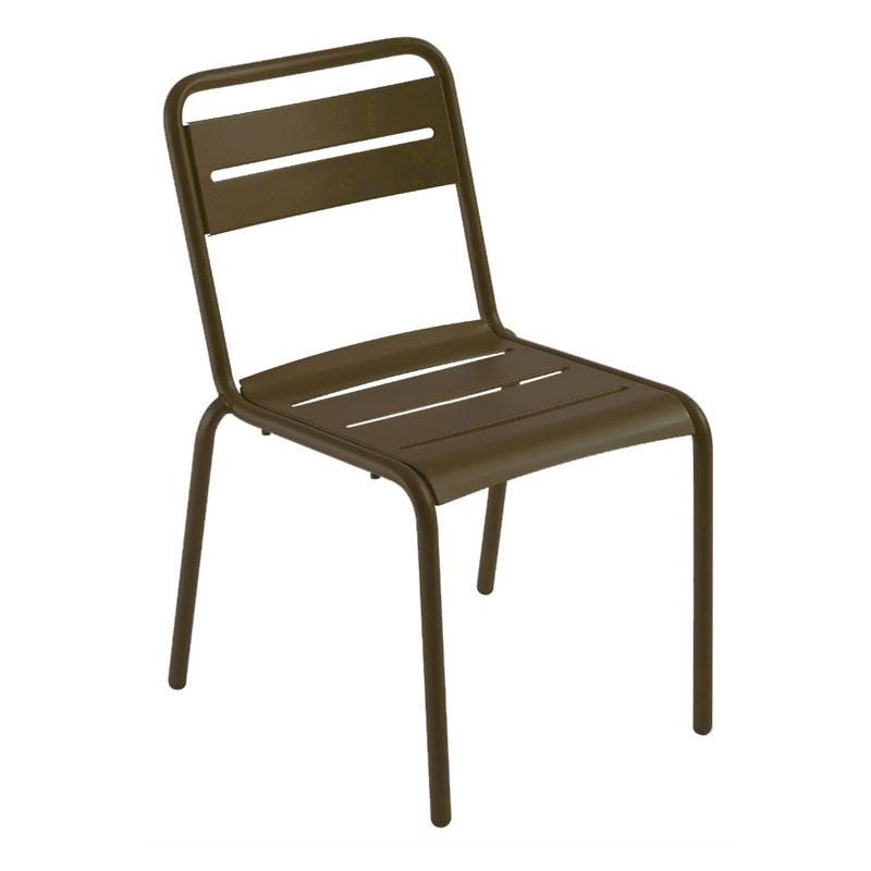 emu 161 Star Stacking Side Chair - Indoor/Outdoor, Steel Frame, Bronze