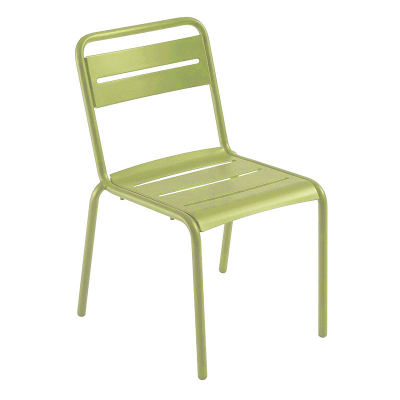 emu 161 Star Stacking Side Chair - Indoor/Outdoor, Steel Frame, Green