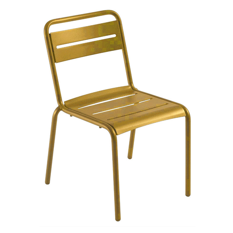 emu 161 Star Stacking Side Chair - Indoor/Outdoor, Steel Frame, Orange