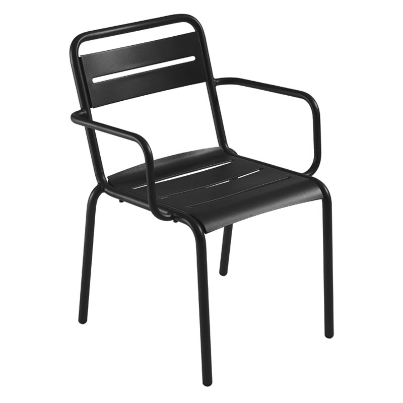 emu 162 Star Stacking Armchair - Indoor/Outdoor, Steel Frame, Black