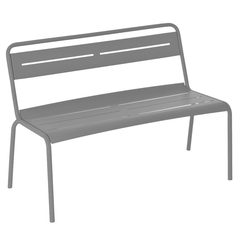 Emuamericas 163 ALU 46.5-in Stacking Bench w/ Steel Slat Seat & Back, Tubular Steel Frame, Aluminum