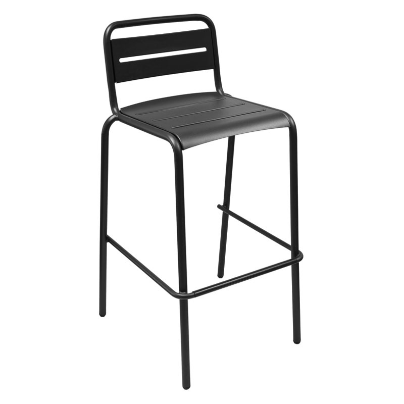 emu 164 Stacking Barstool w/ Steel Slat Back & Steel Seat, Foot Rest, Black