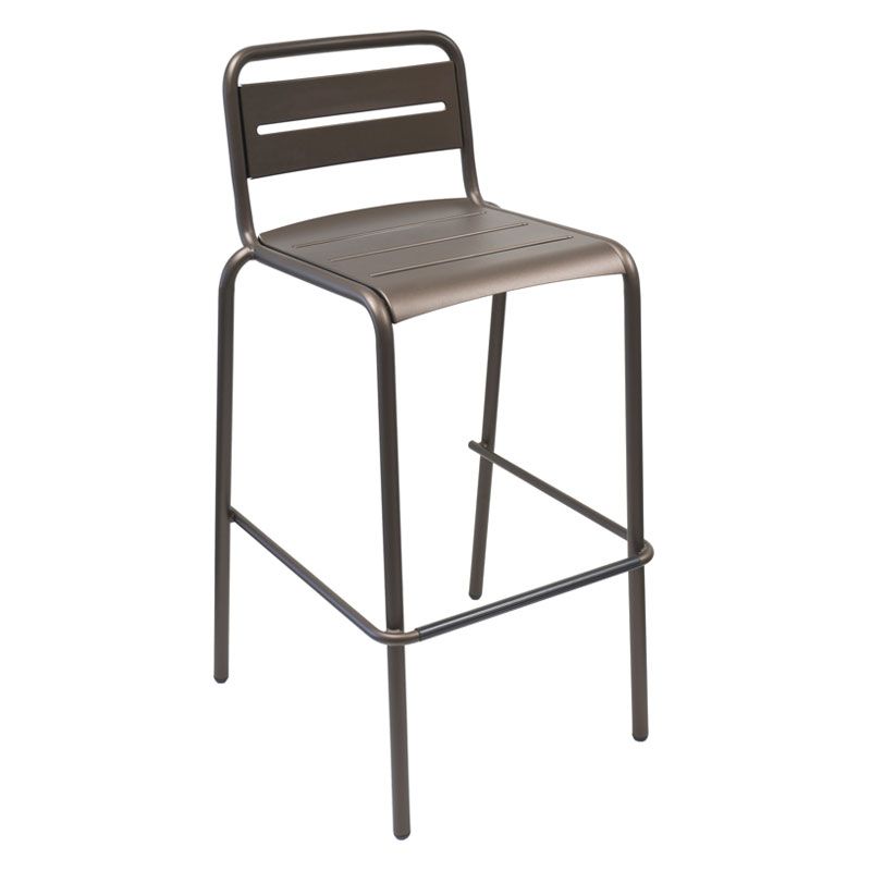 emu 164 ABRONZE Stacking Barstool w/ Steel Slat Back & Steel Seat, Foot Rest, Bronze