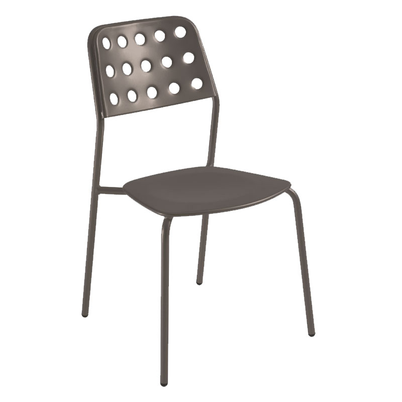 emu 168 ABRONZE Stacking Side Chair w/ Design Pattern Back & Steel Seat, Bronze