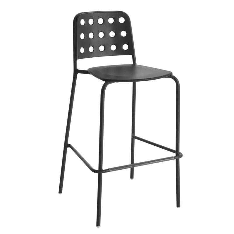 emu 172 Stacking Barstool w/ Design Pattern Back & Steel Seat, Black