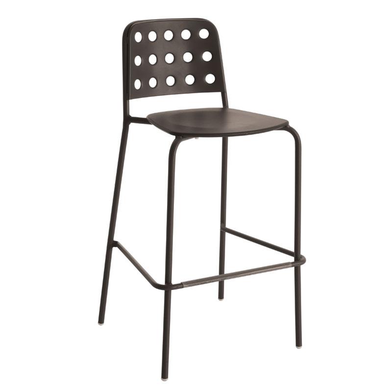 emu 172 ABRONZE Stacking Barstool w/ Design Pattern Back & Steel Seat, Bronze