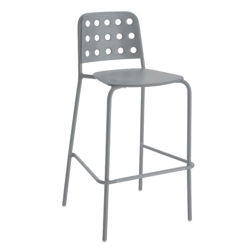 emu 172AALU Stacking Barstool w/ Design Pattern Back & Steel Seat, Aluminum