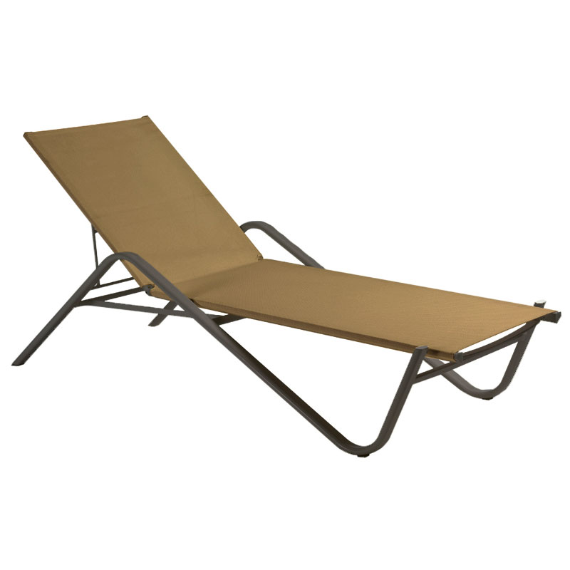 emu 195 Adjustable Chaise w/ Fabric Back & Seat, Tubular Frame, Bronze