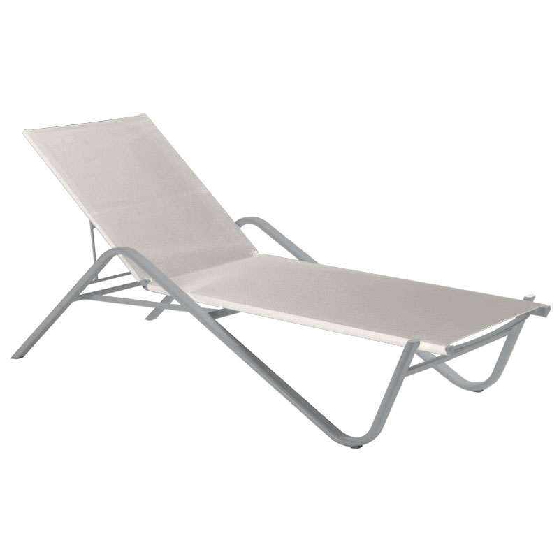 emu 195 ALU Adjustable Chaise w/ Fabric Back & Seat, Tubular Frame, Aluminum