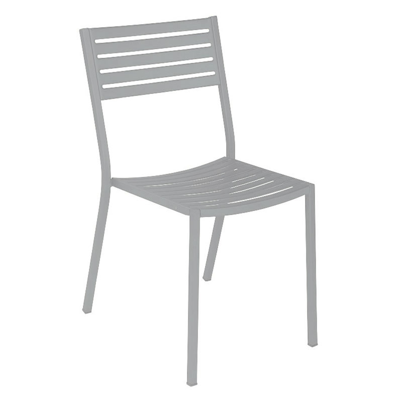emu 263 ALU Segno Side Chair, Slatted, Square Tubular Frame, Aluminum
