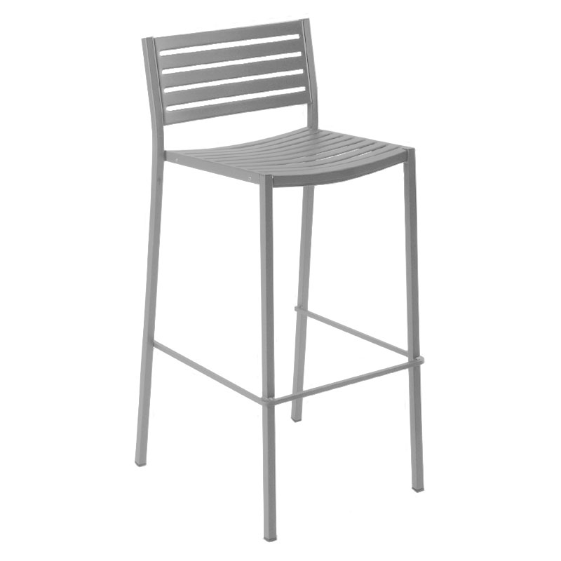 emu 264 ALU Segno Barstool, Steel Slat Seat & Back, Square Frame, Aluminum