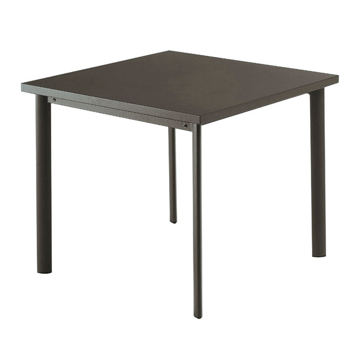 "emu 303 ABRONZE 40"" Square Table w/ Solid Steel Top, Tubular Steel Legs, Bronze"