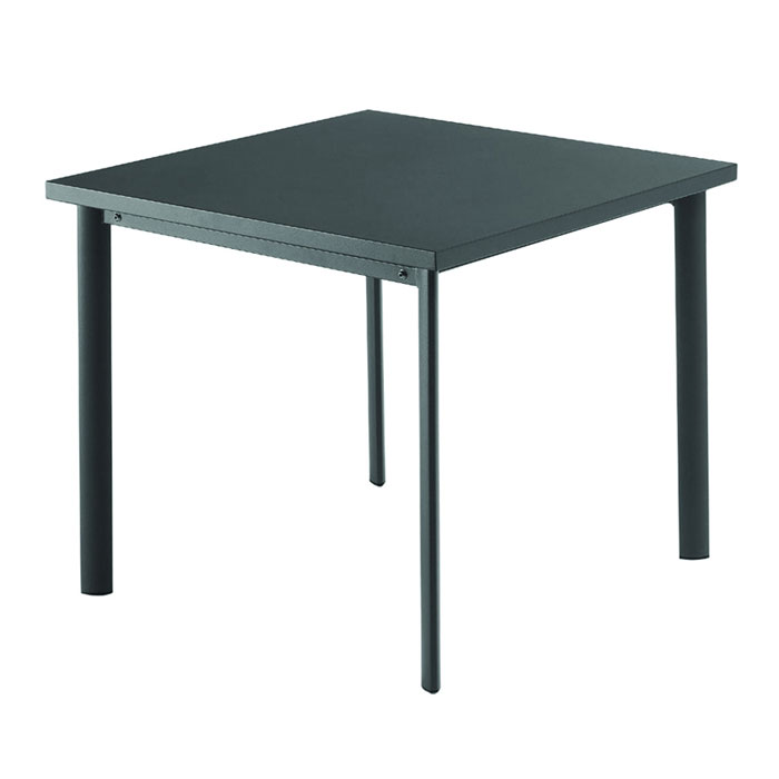 EmuAmericas 303 AIRON 40-in Square Table w/ Solid Steel Top, Tubular Steel Legs, Iron