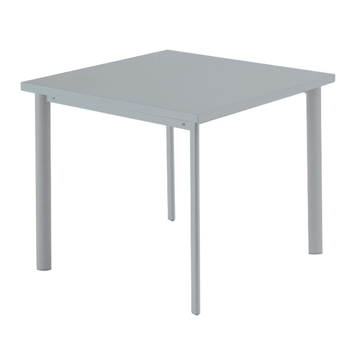 EmuAmericas 303 ALU 40-in Square Table w/ Solid Steel Top, Tubular Steel Legs, Aluminum