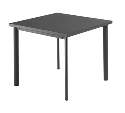 EmuAmericas 305 ALU 28-in Square Table w/ Solid Steel Top, Tubular Steel Legs, Aluminum