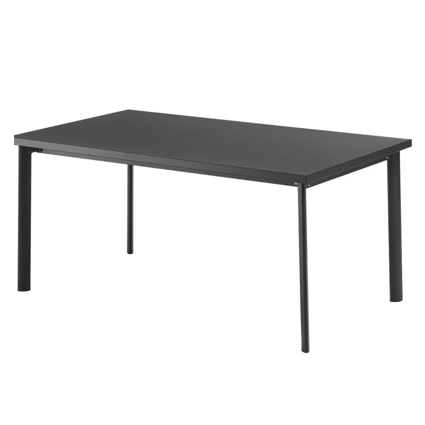 "emu 307 64"" Rectangular Table w/ Solid Steel Top, Tubular Legs, Black"