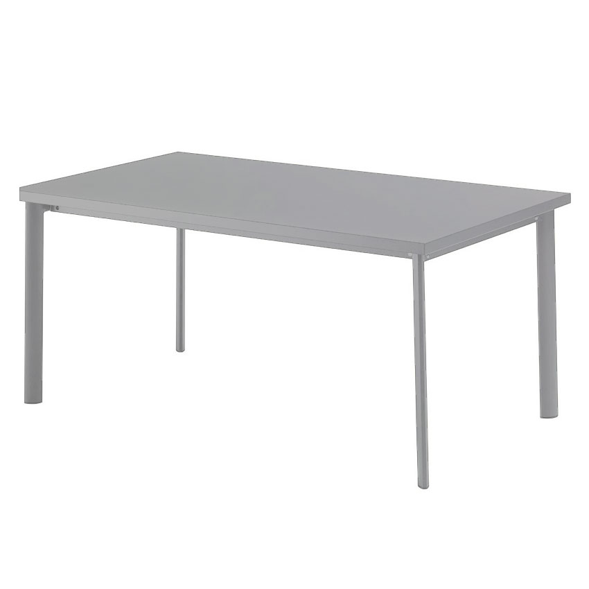"emu 307 ALU 64"" Rectangular Table w/ Solid Steel Top, Tubular Legs, Aluminum"