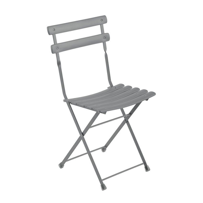 emu 314 ALU Folding Side Chair w/ Steel Slat Back & Seat, Tubular Frame, Aluminum