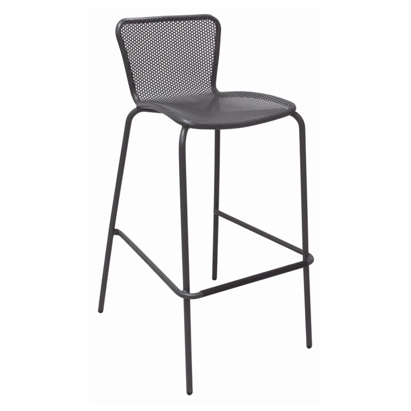 emu 335 AIRON Stacking Barstool w/ Perforated Steel Mesh Back & Seat, Tubular Frame, Iron